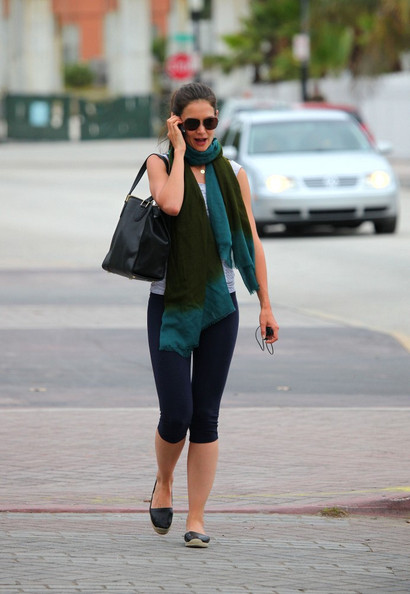 Katie Holmes Leather Slip On Shoes