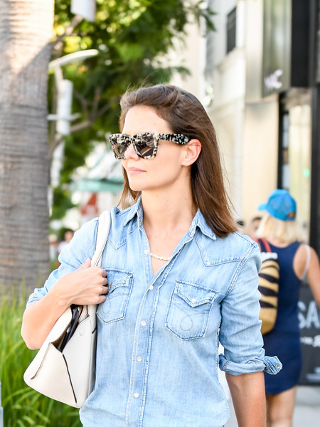 Katie Holmes wore a cool pair of spotted wayfarers while running errands in LA.
