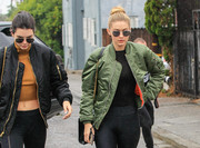 Gigi Hadid accessorized with a pair of round shades for a day out in L.A.
