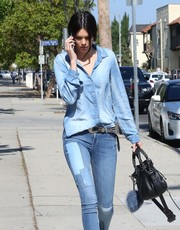 Kendall Jenner was spotted out in LA carrying an edgy-chic black leather tote by Balenciaga.