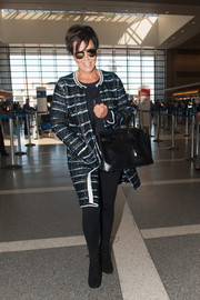 Kris Jenner was spotted at LAX wearing a striped tweed coat.