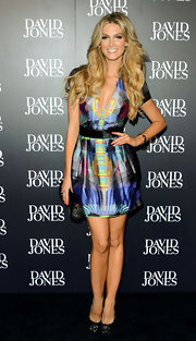 Delta Goodrem looked chic and cool in a print mini dress at the 2012 David Jones Autumn/Winter fashion show.