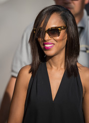 Kerry Washington accessorized with a pair of rectangular tortoiseshell sunnies while headed to 'Jimmy Kimmel Live.'