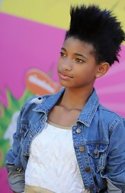 Willow Smith took her hair to the punk side with this sky-high fauxhawk.