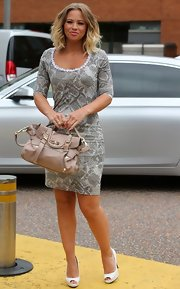 Kimberley Walsh headed to the London Studios carrying an elegant nude leather tote.