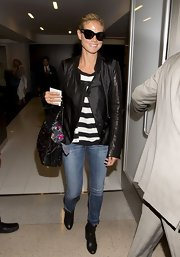 Heidi's leather jacket paired over a striped top blended classic preppy style with a modern edge.