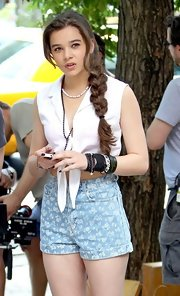 Cue the arm party! Hailee piled on black gothic bracelets while filming a new movie.