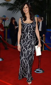 Catherine Bell wore a chic black-and-white print dress at the premiere of 'Bruce Almighty.'
