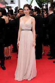 Laetitia looked lovely at Cannes in a blush chiffon evening gown.