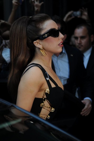 Lady Gaga Gold Dangle Earrings