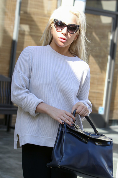 Lady Gaga went retro with a pair of printed cateye sunnies while out and about.