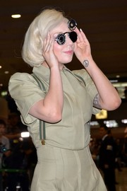Lady Gaga topped off her look with a pair of bizarre shades.