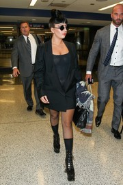 Lady Gaga teamed black socks with her favorite platform boots.