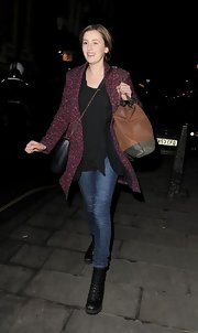 Laura Carmichael was seen leaving work wearing a street stylish outfit featuring a print coat.