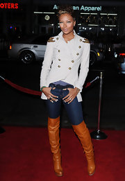 Eva Pigford showed off her long legs in a sexy pair of over-the-knee boots.