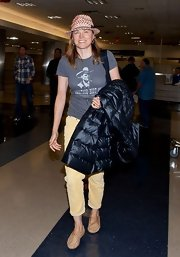 Lucy Lawless opted for a totally casual look with this western-inspired cowboy t-shirt.