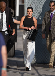 Lea Michele kept it fuss-free in a black tank top while headed to 'Jimmy Kimmel Live.'