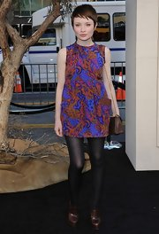 Emily looked simply chic in a cool printed day dress while attending an LA premiere.