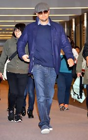 Leonardo DiCaprio's blue jacket was a super-stylish finish to his casual get-up during a Tokyo trip.