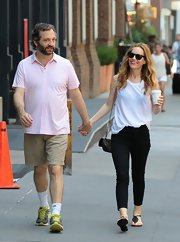 Judd Apatow wore a light pink polo for a summery casual look while out in NYC.