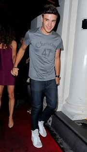 One Direction's Liam Payne celebrated his 19th birthday in this 'Christian 47' tee and skinny jeans.