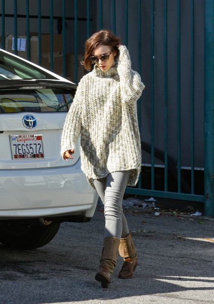 Lily Collins Cowl Neck Top