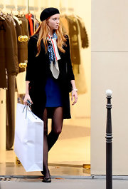 Lily Cole spruced up her shopping ensemble with a colorful patterned scarf.