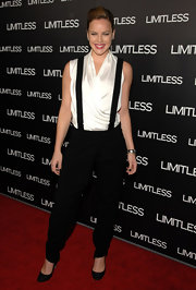 Abbie goes for an androgynous style at the 'Limitless' premiere with suspenders and a black slacks.