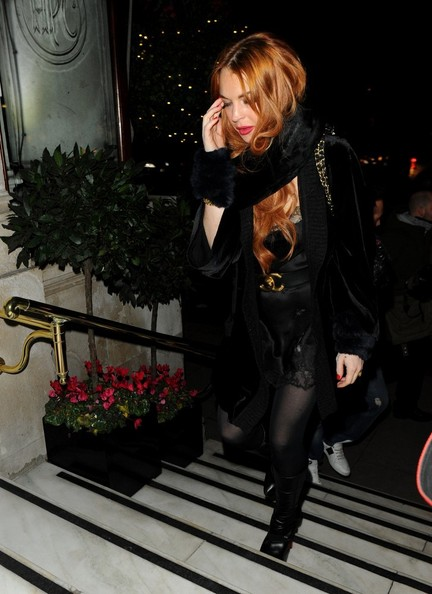 More Pics of Lindsay Lohan Tights (1 of 17) - Lindsay Lohan Lookbook - StyleBistro