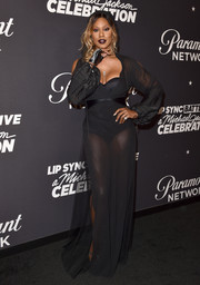 Laverne Cox got majorly sultry in a sheer black gown layered over a bustier bodysuit at the 'Lip Sync Battle LIVE: A Michael Jackson Celebration.'