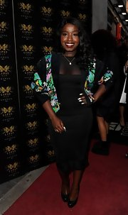 Misha B rocked a figure-flattering LBD with a colorful blazer at the Lipsy VIP Awards Ceremony.
