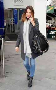 Lisa Snowdon sported a retro-style wool coat for her daytime look in London.