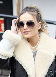 Perrie Edwards styled her hair into an edgy ponytail for a visit to the ITV Studios.