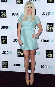 Kesha chose a sea foam frock with a bow waist  and embellished top for her look at the NewNowNext Awards.