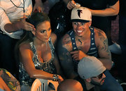 Casper Smart's baseball cap made his look more laid back.