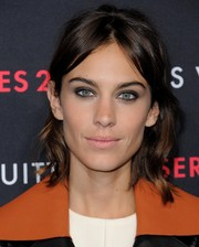 Alexa Chung was a retro cutie with her wavy half-up hairstyle at the Louis Vuitton Series 2 exhibition.
