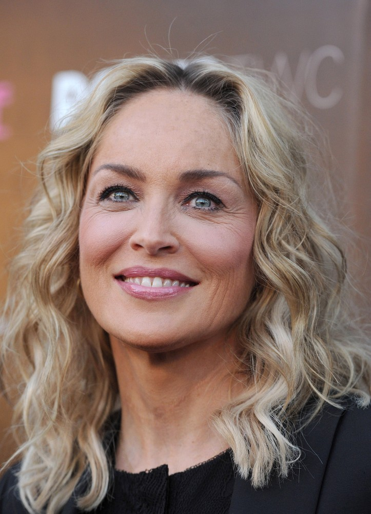 Sharon Stone S Textured Waves Medium Length Hairstyles