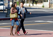 Jessica Lucas looked urban-chic while filming 'Melrose Place' in brown knee-high boots.