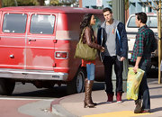 Jessica Lucas carried a stylish oversized green satchel to film 'Melrose Place.'