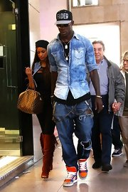 Mario chose a pair of distressed ripped jeans for his denim-on-denim look.