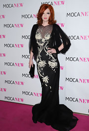 Shirley Manson looked fabulous at the Moca New Anniversary Gala in a black and white embroidered tulle gown with draped sleeves by Marchesa.