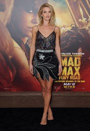 Rosie Huntington-Whiteley brought a heavy dose of allure to the 'Mad Max: Fury Road' premiere with this beaded cami by Rodarte.