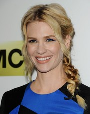 January Jones wore sapphire eyeshadow to match her dress at the 'Mad Men' season 7 premiere.