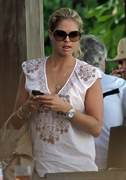 Princess Madeleine shielded her eyes from the bright Miami sunshine in a pair of oversized shades.