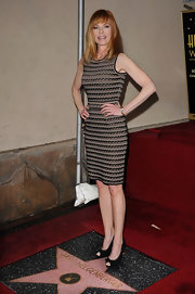 Marg Helgenberger wore a knit day dress on the Walk of Fame in Hollywood.