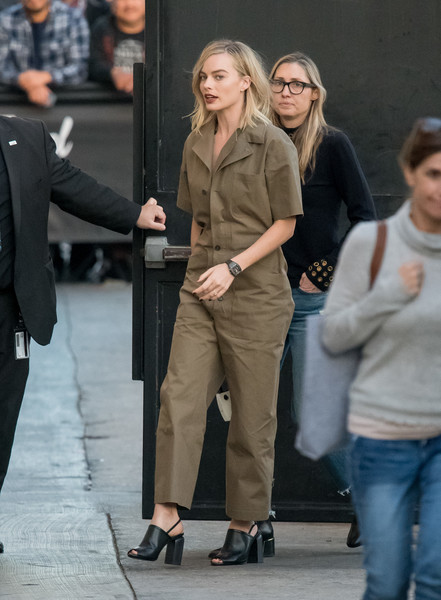Margot Robbie chose a pair of black slingback heels by Pierre Hardy to complete her outfit.