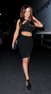 Maria Fowler tantalized in a little black cutout dress while out and about in London.