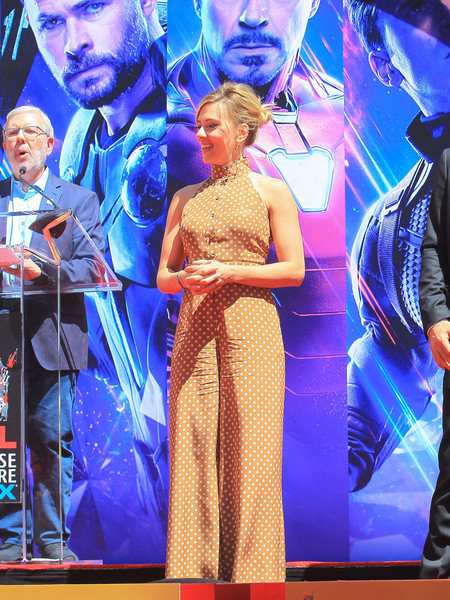 Scarlett Johansson looked adorable in a tan polka-dot jumpsuit by Zimmermann at the 'Avengers: Endgame' cast's hand and footprint ceremony.