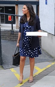 Rochelle Humes chose this polka dot frock for her retro-inspired daytime look.