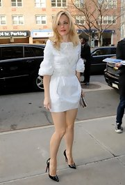 Rachel McAdams wore a white embroidered cocktail dress while out in NYC.
